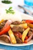 El plato de Peruvan llamó Lomo Saltado Fotografía de archivo libre de regalías