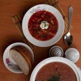 El plato nacional ruso es borsch rojo fotografía de archivo libre de regalías