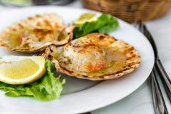 El plato sabroso del plato de los mariscos de conchas de peregrino con la salsa, la lechuga y el limón con mariscos hermosos de la Fotos de archivo libres de regalías