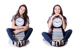 El plazo perdido del examen del estudiante joven aislado en blanco foto de archivo