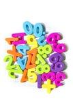 El plástico numera símbolos de la matemáticas Fotografía de archivo libre de regalías