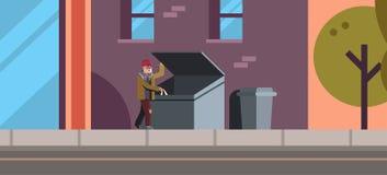El pobre hombre que busca la comida y la ropa en bote de basura exterior desempleado del edificio de la calle de la ciudad del co stock de ilustración