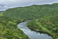 El poder de la presa de Bhumibol en Tak en Tailandia Imagen de archivo