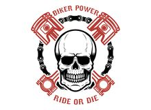 El poder del motorista, paseo o muere Cráneo humano con los pistones cruzados Diseñe el elemento para el logotipo, etiqueta, embl stock de ilustración