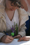 El político Evgeniya Chirikova es un acto del corte ilegal del bosque de Khimki Fotografía de archivo