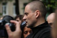 El político Sergei Udaltsov en un contrario Fotos de archivo libres de regalías