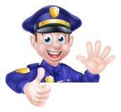 El policía de la historieta manosea con los dedos para arriba Fotos de archivo