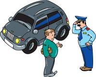 El policía paró el coche, hablando con el conductor Fotografía de archivo