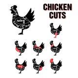 El pollo corta el sistema de la plantilla del vector Imágenes de archivo libres de regalías