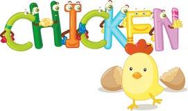 El pollo de la palabra Imagen de archivo libre de regalías