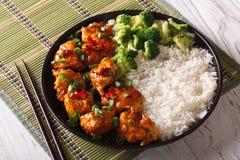 El pollo de la TSO general con arroz, las cebollas y el bróculi horizonta Imagen de archivo