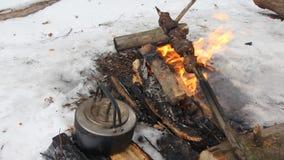 El pollo del Bbq cocinó en la parrilla en el invierno y ellos los carbones del negro de humo almacen de video