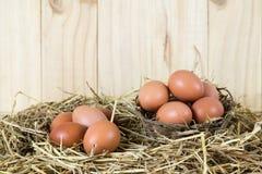 El pollo fresco eggs en la jerarquía de la paja en backgroun de madera del vintage Foto de archivo libre de regalías