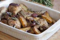 El pollo y el chorizo cuecen al horno fotografía de archivo libre de regalías