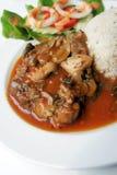 El pollo y la seta picantes de la hierba sirven con arroz imágenes de archivo libres de regalías