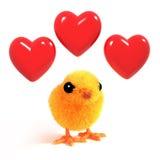 el polluelo de 3d Pascua está en amor Fotografía de archivo libre de regalías