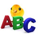 el polluelo del bebé 3d aprende el alfabeto libre illustration