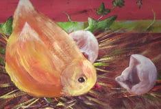 El polluelo rompe el huevo ilustración del vector
