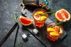 El pomelo y el romero atrapan el cóctel, restaurando la bebida con hielo imagen de archivo libre de regalías