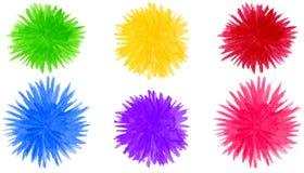 El pomp?n abstracto de la acuarela forma el fondo Elementos coloridos redondos de la flor aislados en blanco stock de ilustración