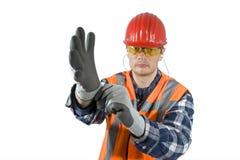 El poner en guantes Foto de archivo libre de regalías