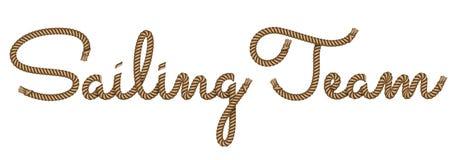El poner letras dibujado mano de la cuerda navegando al equipo stock de ilustración