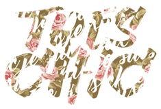 El poner letras elegante de las rosas de Tres Fotos de archivo