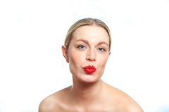 El poner mala cara femenino rubio de la mujer Fotos de archivo libres de regalías