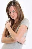El poner mala cara o mujer triste Imagen de archivo libre de regalías