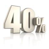 El 40 por ciento aislado en el fondo blanco 3d rinden Fotografía de archivo libre de regalías