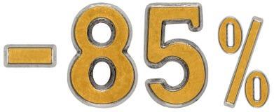 El por ciento apagado descuento Menos 85, ochenta y cinco, el por ciento Metal NU Imágenes de archivo libres de regalías