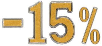 El por ciento apagado descuento Menos 15, quince, el por ciento Numera del metal fotos de archivo