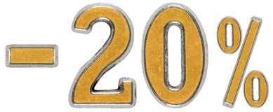 El por ciento apagado descuento Menos 20, veinte, el por ciento Número del metal Imágenes de archivo libres de regalías