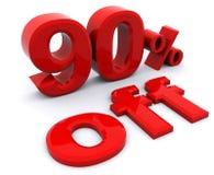 el 90 por ciento apagado en letras rojas en un background9 blanco Fotografía de archivo