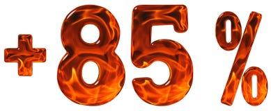 El por ciento beneficia, más 85, al ochenta y cinco por ciento, aislante de los números Imagen de archivo