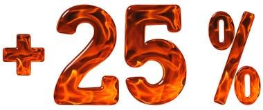 El por ciento beneficia, más 25, al veinticinco por ciento, aislante de los números Foto de archivo