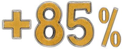 El por ciento beneficia, más el 85 ochenta y cinco por ciento, a los números aislados Imágenes de archivo libres de regalías