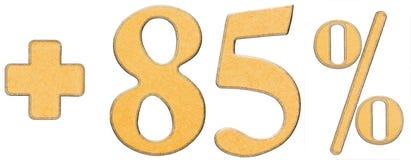 El por ciento beneficia, más el 85 ochenta y cinco por ciento, a los números aislados Fotografía de archivo libre de regalías