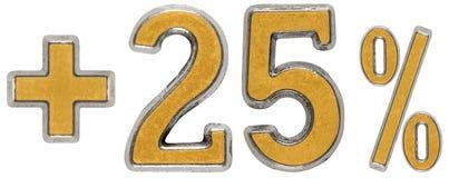 El por ciento beneficia, más el 25 veinticinco por ciento, a los números aislados Imagen de archivo