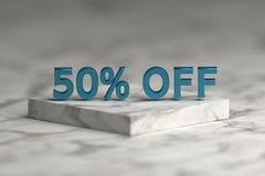 El 50 por ciento brillante metálico azul de texto de la muestra ilustración del vector