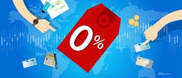 El por ciento cero del interés 0 préstamos de actividades bancarias del precio de la compra del número del descuento de la tarifa Fotos de archivo libres de regalías
