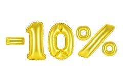 el 10 por ciento, color oro Imágenes de archivo libres de regalías