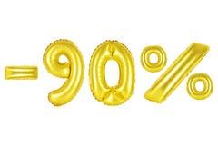el 90 por ciento, color oro Imagen de archivo