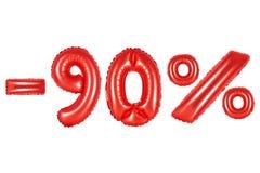 el 90 por ciento, color rojo Fotografía de archivo