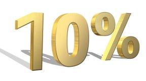 el 10 por ciento 3d de oro rinde símbolo Imagen de archivo