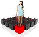 El por ciento de la mujer y del gráfico de las compras Imagen de archivo