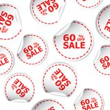 El por ciento de la venta el 60% del icono inconsútil del fondo del modelo de la etiqueta engomada B Foto de archivo