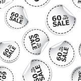 El por ciento de la venta el 60% del icono inconsútil del fondo del modelo de la etiqueta engomada B Imágenes de archivo libres de regalías