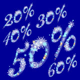El por ciento de la venta del invierno con los copos de nieve Fotografía de archivo