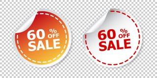 El por ciento de las etiquetas engomadas el 60% de la venta apagado Ejemplo del vector en b aislado Fotografía de archivo libre de regalías